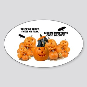 Dachshund Halloween (Black & Tan) Oval Sticker