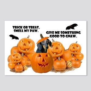 Dachshund Halloween (Black & Tan) Postcards (Packa