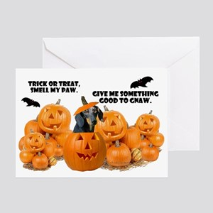 Dachshund Halloween (Black & Tan) Greeting Card