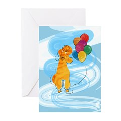 Poodle Balloons Greeting Cards (Pk of 10)