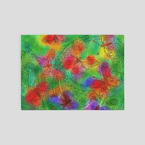 Zentangle Butterflies 5'x7'Area Rug