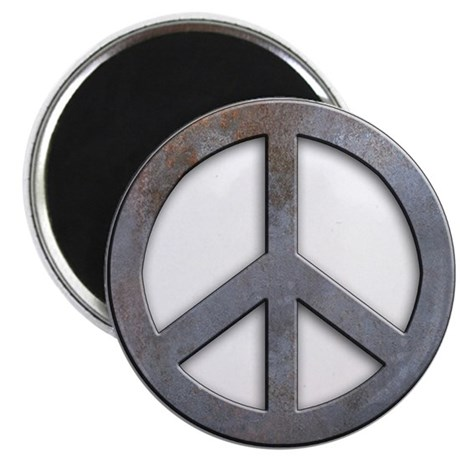 """Distressed Metal Peace Sign 2.25"""" Magnet (100 pack"""