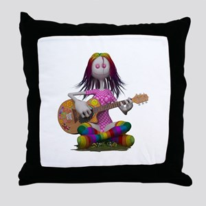 Hippy Chick ~ Peace and Love Throw Pillow