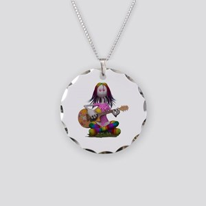 Hippy Chick ~ Peace and Love Necklace Circle Charm