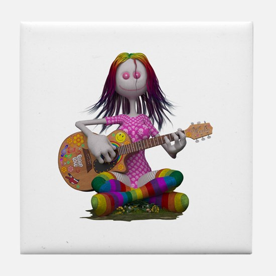 Hippy Chick ~ Peace and Love Tile Coaster