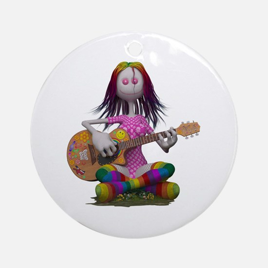 Hippy Chick ~ Peace and Love Round Ornament