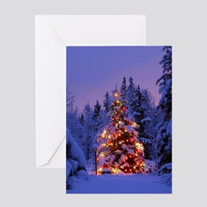 Christmas Tree With Lights Greeting Cards