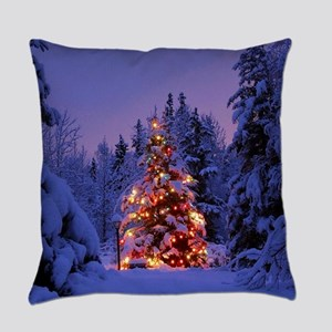 Christmas Tree With Lights Everyday Pillow