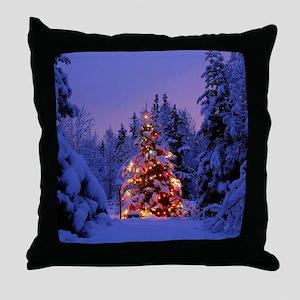 Christmas Tree With Lights Throw Pillow
