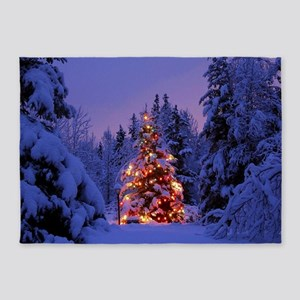 Christmas Tree With Lights 5'x7'Area Rug