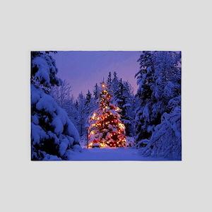 Christmas Tree With Lights 5'x7'Area Rug
