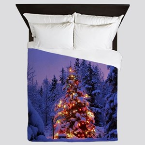 Christmas Tree With Lights Queen Duvet