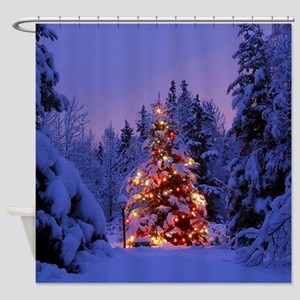 Christmas Tree With Lights Shower Curtain