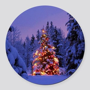 Christmas Tree With Lights Round Car Magnet