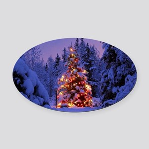 Christmas Tree With Lights Oval Car Magnet