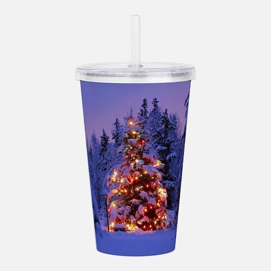 Christmas Tree With Lights Acrylic Double-wall Tum