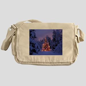 Christmas Tree With Lights Messenger Bag