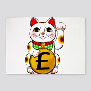 Pound Sterling Lucky Cat Maneki Nek 5'x7'Area Rug