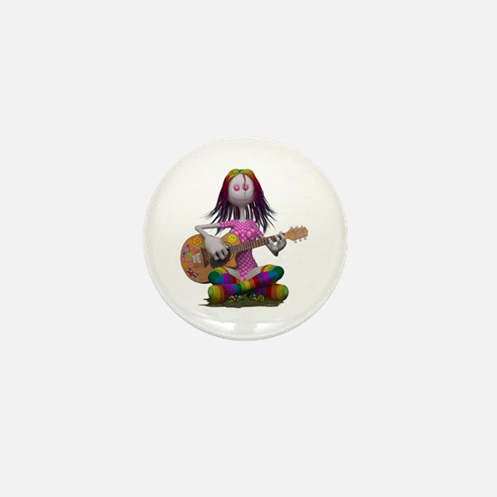 Hippy Chick ~ Peace and Love Mini Button
