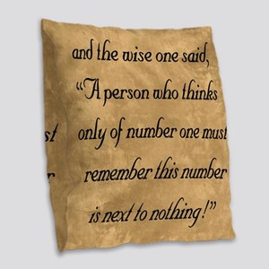 Number One, The Wise One Speak Burlap Throw Pillow
