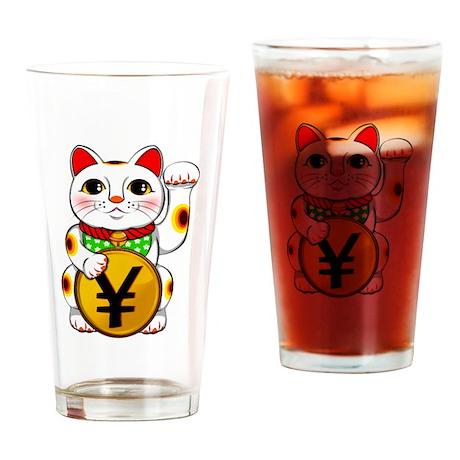 Yen Yuan Lucky Cat Maneki Neko Drinking Glass