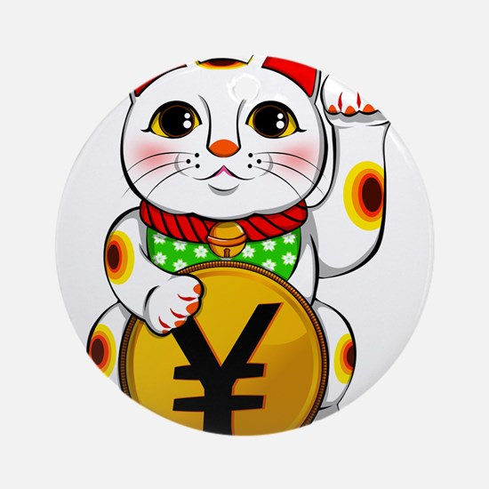 Yen Yuan Lucky Cat Maneki Neko Round Ornament