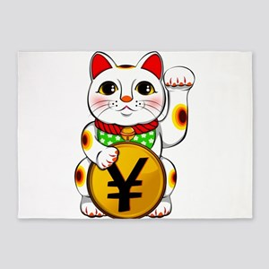 Yen Yuan Lucky Cat Maneki Neko 5'x7'Area Rug