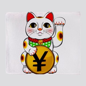 Yen Yuan Lucky Cat Maneki Neko Throw Blanket