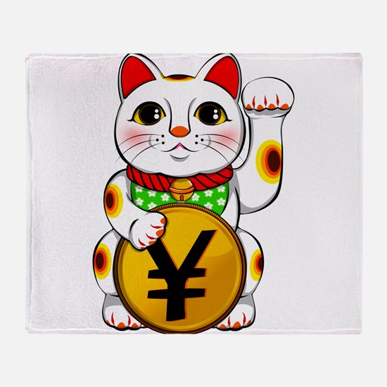 Yen Yuan Lucky Cat Maneki Neko Throw Blanket