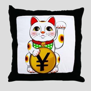 Yen Yuan Lucky Cat Maneki Neko Throw Pillow