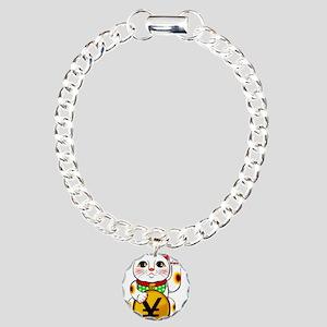 Yen Yuan Lucky Cat Manek Charm Bracelet, One Charm