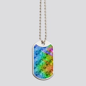 Crumpled Peacock Blue Pattern Dog Tags