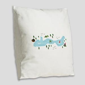 Lake Scene Burlap Throw Pillow