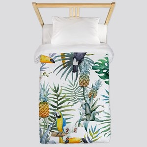Vintage Chic Pinapple Tropical Hibiscus Twin Duvet