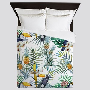 Vintage Chic Pinapple Tropical Hibiscu Queen Duvet