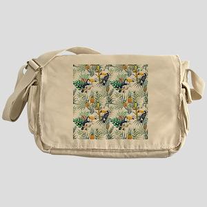 Vintage Chic Pinapple Tropical Hibis Messenger Bag