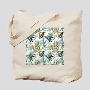 Vintage Chic Pinapple Tropical Hibiscus F Tote Bag