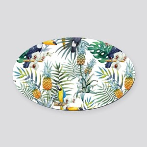 Vintage Chic Pinapple Tropical Hib Oval Car Magnet