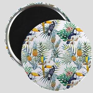 Vintage Chic Pinapple Tropical Hibiscus Flo Magnet