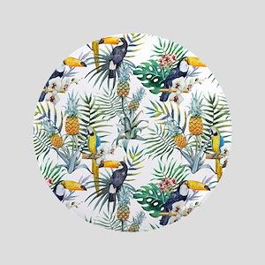 Vintage Chic Pinapple Tropical Hibiscus Flo Button