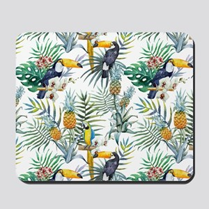 Vintage Chic Pinapple Tropical Hibiscus Mousepad