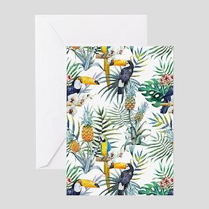 Vintage Chic Pinapple Tropical Hibis Greeting Card