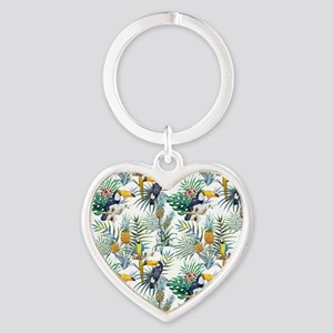 Vintage Chic Pinapple Tropical Hibi Heart Keychain