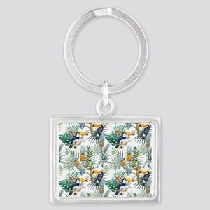Vintage Chic Pinapple Tropical Landscape Keychain