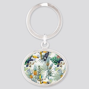 Vintage Chic Pinapple Tropical Hibis Oval Keychain