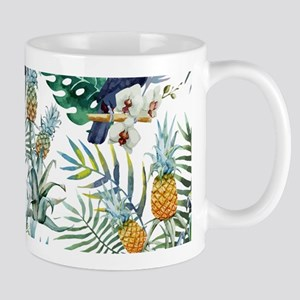 Vintage Chic Pinapple Tropical Hibiscus Mug