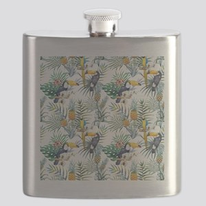 Vintage Chic Pinapple Tropical Hibiscus Flor Flask