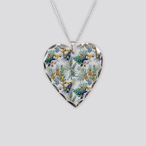 Vintage Chic Pinapple Tropica Necklace Heart Charm