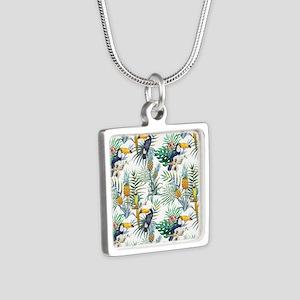 Vintage Chic Pinapple Trop Silver Square Necklace