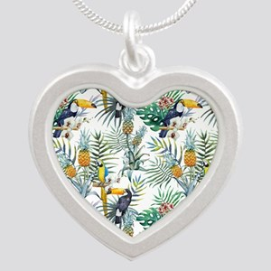 Vintage Chic Pinapple Tropic Silver Heart Necklace